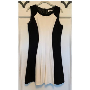 Calvin Klein Black and White Dress w/Pleats 10P